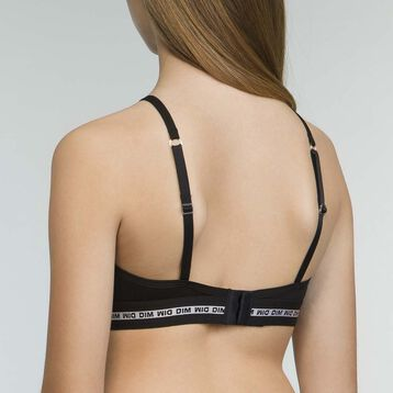 Triangle Sports Bra in Black stretch cotton for Girl Dim Sport, , DIM