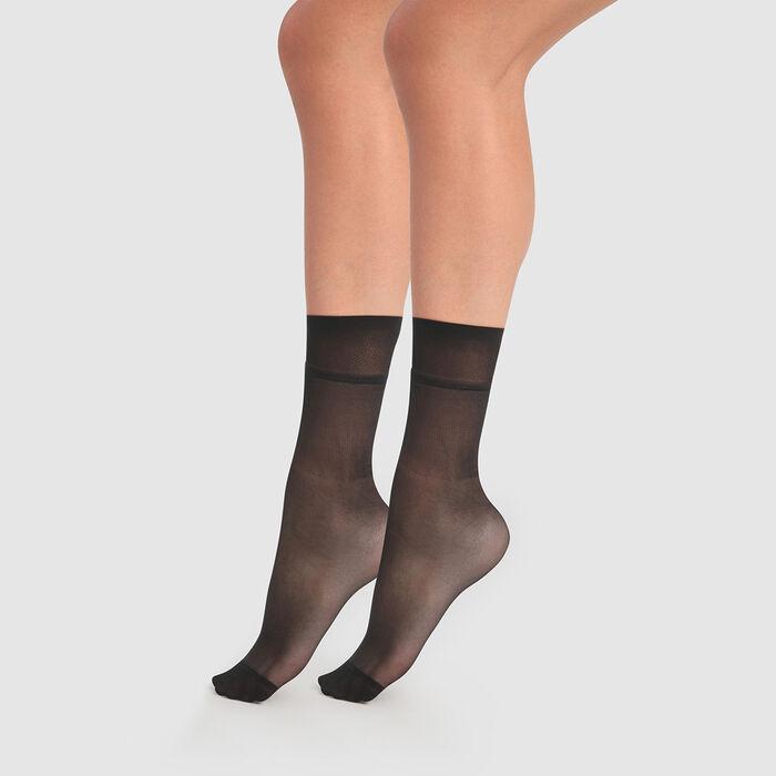 My Easy Set of 2  20D extra high transparent black ankle socks, , DIM