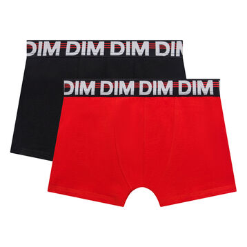2 pack black and poppy red trunks for Boy - Eco Dim, , DIM