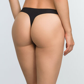 Black lace thong for women in microfiber Refined Lace, , DIM
