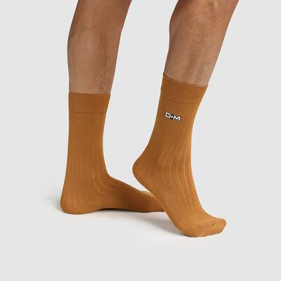 Men's Scottish thread sock ribbed stitch Yellow Made in France Dim, , DIM