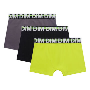 3 pack black, yellow and grey trunks for Boy - Trio Dim, , DIM
