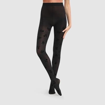 Полупрозрачные колготки Dim Style 40D черного цвета с цветочным принтом, , DIM