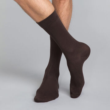 Brown Men's Crew Socks  in cotton, , DIM