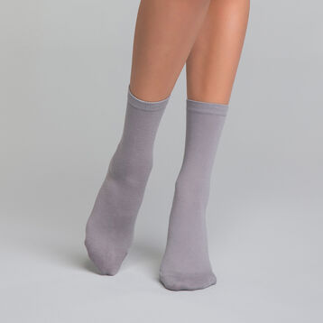 Silver grey women's socks in cotton - Dim Basic Coton, , DIM