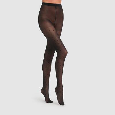 Полупрозрачные колготки с эффектом плюмети Dim Style 30D черного цвета, , DIM