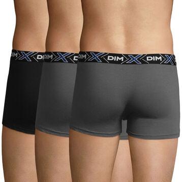 3 Pack X-Temp men's stretch cotton trunks in Dark Grey and Black, , DIM