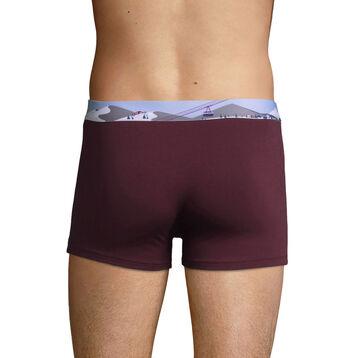 Stretch cotton trunks with printed waistband Purple Grape, , DIM