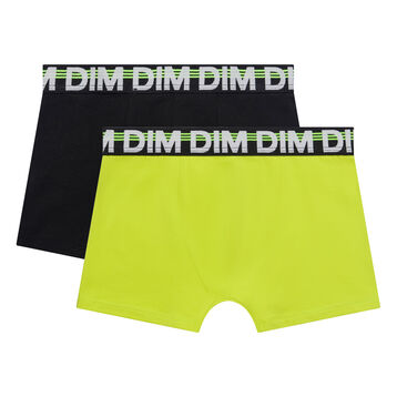 2 pack black and fluorescent yellow trunks for Boy - Eco Dim, , DIM