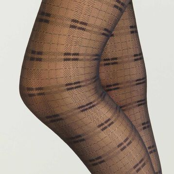 Women's fantasy sheer tights in black Tartan, , DIM