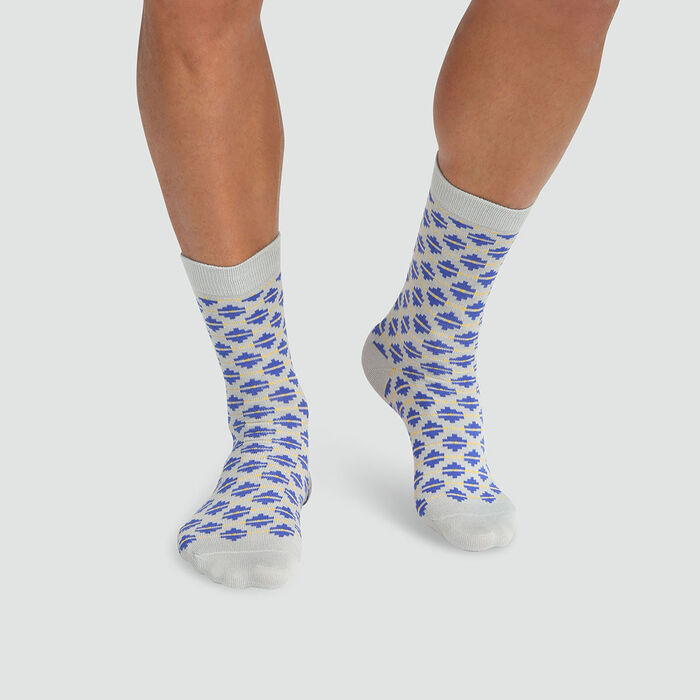 Mixed combed cotton sock diamond print Blue Color Sox, , DIM