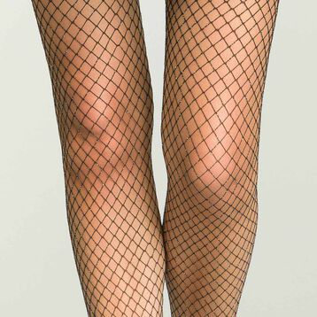 Women's fishnet tights in iridescent black and lurex, , DIM