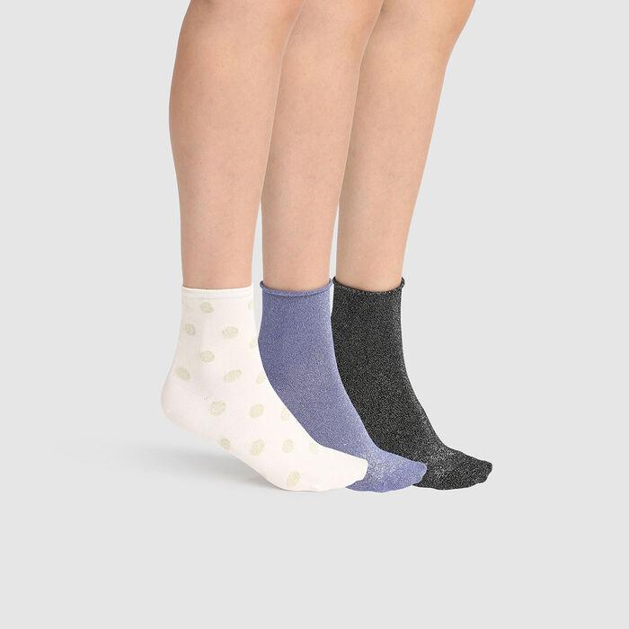 Lot de 3 paires de socquettes lurex Ivoire Noir Bleu pack cadeau Dim, , DIM