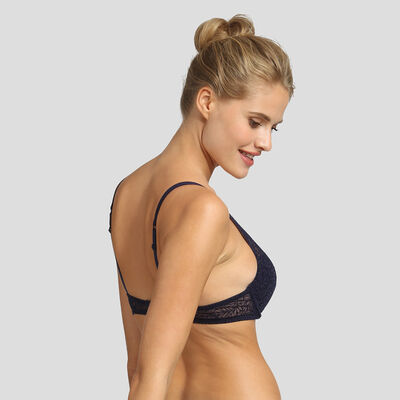 Sujetador triangular push-up azul infinito Sublim Velours de Dim, , DIM