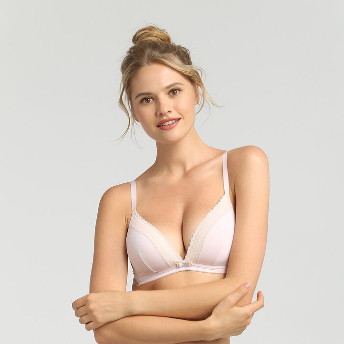 Dim Trendy Micro ballerina pink wireless padded triangle bra, , DIM