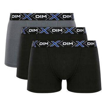 Lot de 3 boxers X-Temp Gris Foncé et Noir en coton stretch pour homme, , DIM