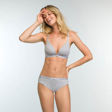 Mottled grey brief in stretch cotton Casual Line, , DIM