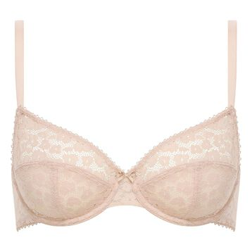 Nude Pink laced and printed bra Leopard Line, , DIM