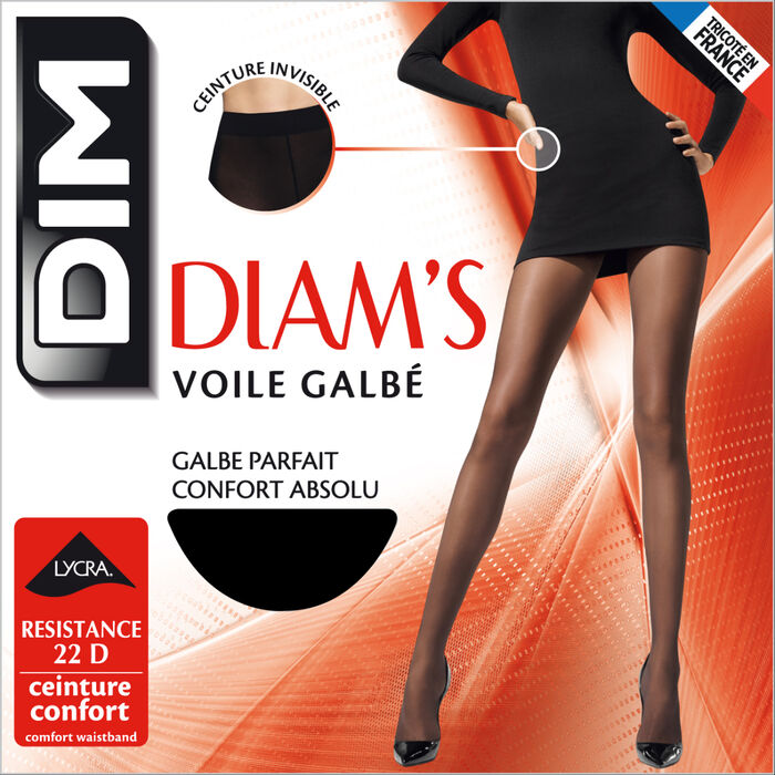 Diam's Voile Galbé 22 sheer shaping tights in black, , DIM