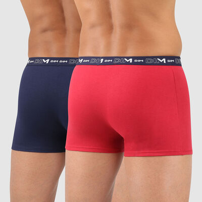 Cotton Stretch pack of 2 men's trunks in denim blue and topaz red, , DIM