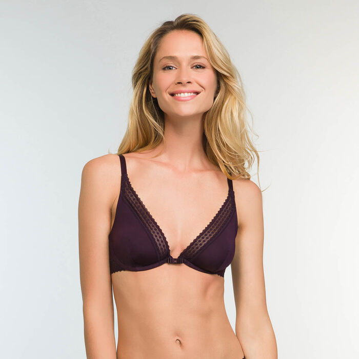 Trendy Micro Precious Purple Triangle Push up Bra, , DIM