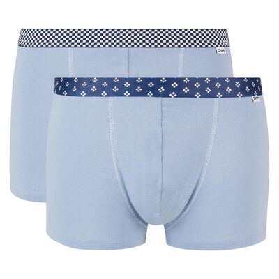 Mix and Print 2 pack stretch cotton trunks in ice blue with printed waistband, , DIM