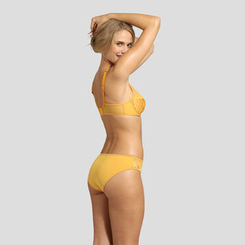 Golden yellow underwired and embroidered bra Generous Mod by Dim, , DIM