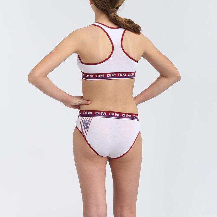 Culotte fille coton stretch motif ligne et lettrage Cerise Dim Sport, , DIM