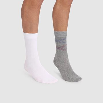 Cotton Style 2 pack men's socks in grey with striped print, , DIM