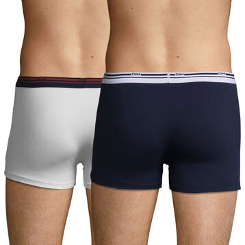 2 Pack stretch cotton trunks White and Denim Blue Daily Colors, , DIM