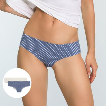 2 Pack Body Touch Microfiber Hipster Briefs Blue Polka Dot and Pearl, , DIM
