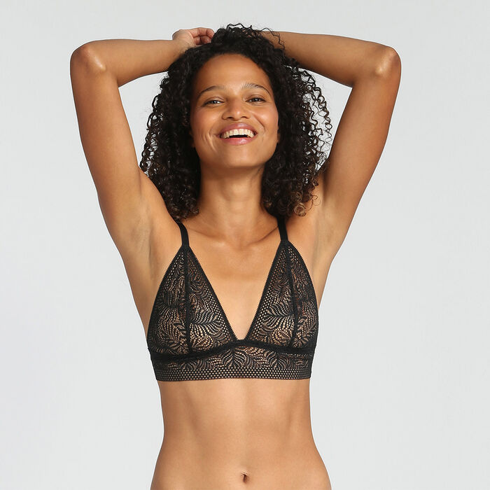Non-wired Black triangle bra Coco Tropical by Dim, , DIM
