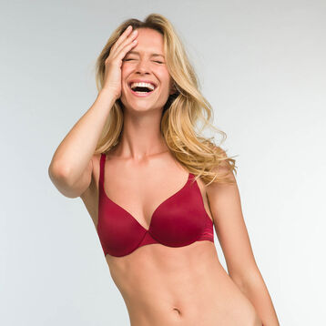 Cherry red push-up balconette bra Invisifit, , DIM