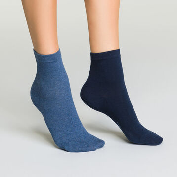 Women's Basic Cotton Socks in Navy Blue and Blue Jeans, , DIM