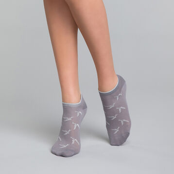 Grey and silver ankle socks - Dim Coton Style, , DIM