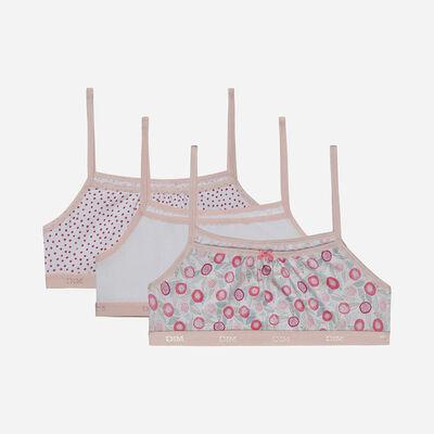 Комплект из 3 бюстгальтеров для девушек из эластичного хлопка с цветочным орнаментом Rose Les Pockets, , DIM