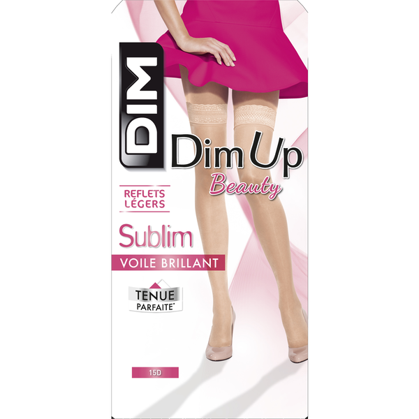 DIM Up Sublim 15 sheer no-dig hold ups with a satin sheen in gazelle