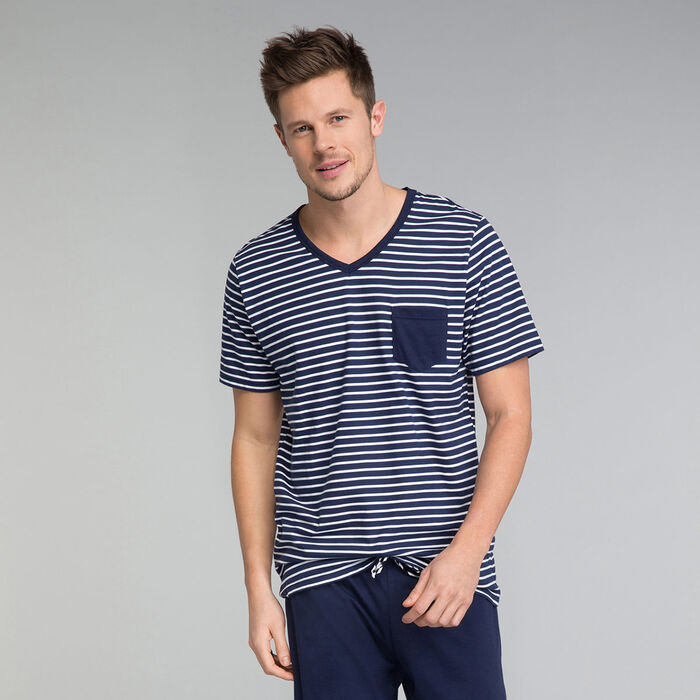 Navy pyjama t-shirts with blue pocket - Fashion Navy, , DIM