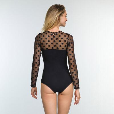 Black laced bodysuit in microfiber with polka dot print Dotty Line, , DIM