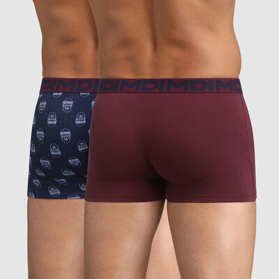 Lot de 2 boxers coton stretch rouge bleu imprimé hipster Mix and Fancy, , DIM