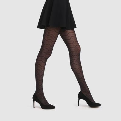 Collant chevron graphique tulle noir Style de Dim 20D, , DIM