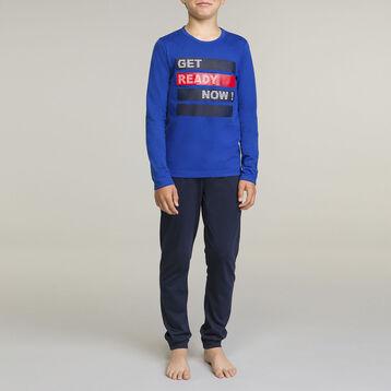 Pyjama manches longues pour garçon 2 pièces Bleu Outremer, , DIM