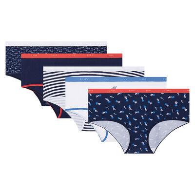 Lot de 5 boxers imprimé méditerranée Les Pockets Coton Stretch de Dim, , DIM