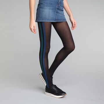 Black and Blue Sporty Look 40 Tights - DIM Style, , DIM