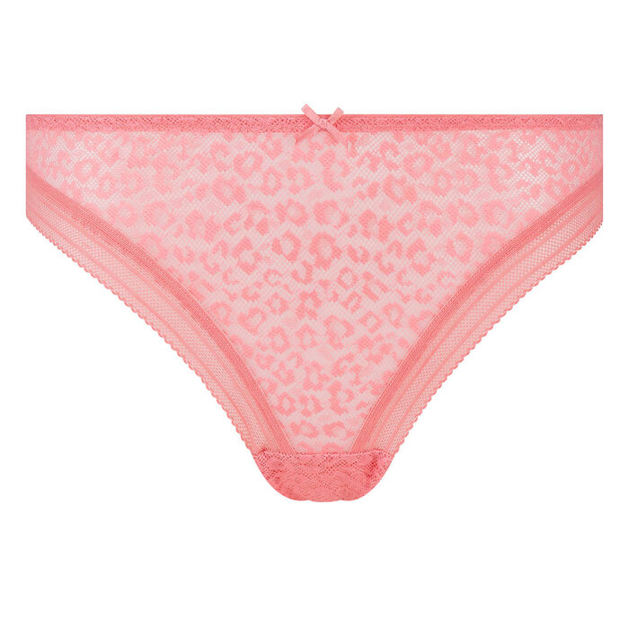Coral pink microfiber thong with leopard print lace Dotty Mesh Panty Box, , DIM