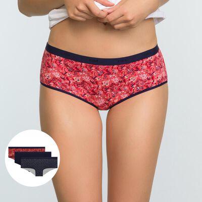Lot de 3 shortys Imprimé Cachemire Les Pockets Coton Stretch, , DIM