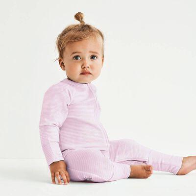 Розово-белая хлопковая пижама на молнии с принтом полоска Dim Baby, , DIM
