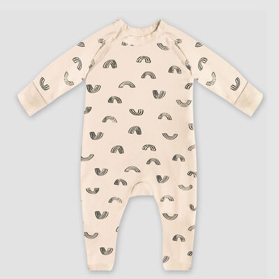 Dim Baby Rainbow print organic cotton vanilla baby pyjama with zipper, , DIM