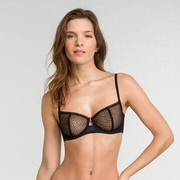 Balconette bra in black velvet mesh - Dim Chic Line, , DIM