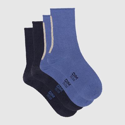 Набор 2шт.: Синие носки из модала с золотистым люрексом Dim Modal, , DIM
